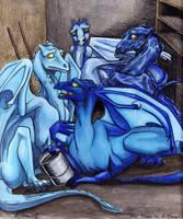 Four Bluies In A Closet by lunatteo