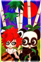 Red and big Panda by MelodiyaMoon