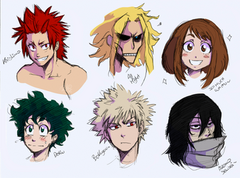 BNHA characters doodles by RiikoChick