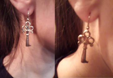 Key Earrings by gingerbered