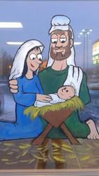 Christmas Window Painting 2015 Nativity by WanyheadPress