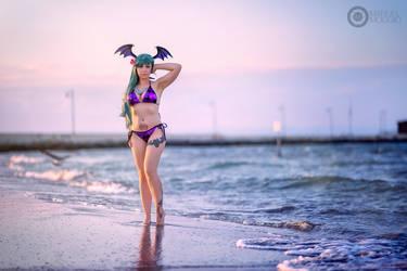 Morrigan bikini costume 4 by AmuChiiBunny