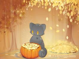 A Pumpkin Full of Kitty Treats by lafhaha