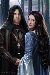Arwen and Aragorn, the youth by SaMo-art