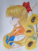 Sailor Venus and Sunflowers by Elveariel