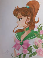 Sailor Jupiter and Roses by Elveariel