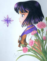 Sailor Saturn and the Carnations by Elveariel