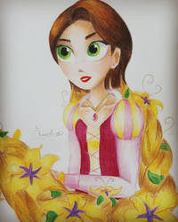 Rapunzel with magic flowers by Elveariel