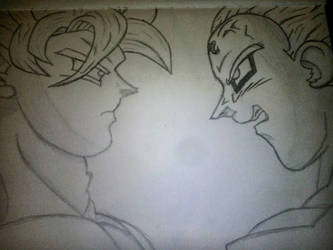Goku vs Majin Vegeta  by ThomasHarryReid