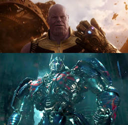 Nemesis Prime Confronting Thanos by BaconDood