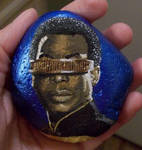 Geordi la Forge (Star Trek: TNG) painted onto rock by TinyAna