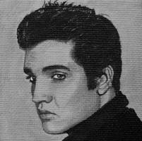 Elvis painted onto mini canvas by TinyAna
