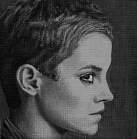 Emma Watson painted onto mini canvas by TinyAna