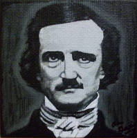 Edgar Allan Poe on mini canvas by TinyAna