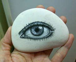 Eye painted onto rock by TinyAna