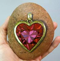 Jewel pendant painted onto rock by TinyAna