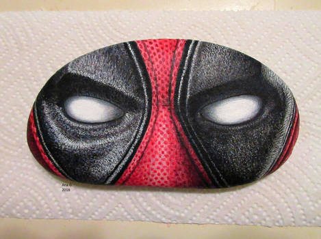 Deadpool painted rock by TinyAna