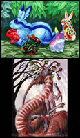 ACEO colourful bunnies and a demon by Sysirauta