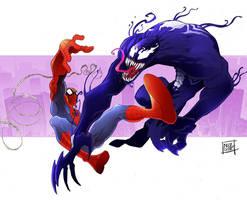 Spidey vs Venom by Nezart
