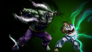 ryu V.S The Hulk by g4r44