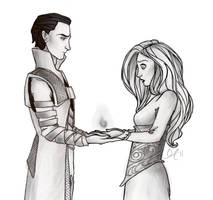 Loki and Sigyn by giles-pie