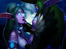 Tyrande and Malfurion by ThunderKunst