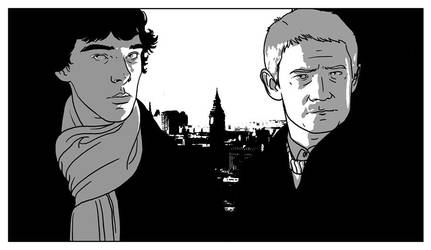 Sherlock, John and London by Paperflower86