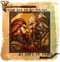 Your axe, my knife by Paperflower86