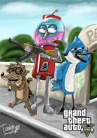 Regular Show as GTA V poster by Tahkyn