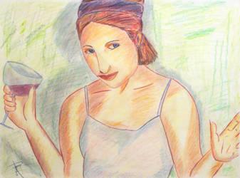 Woman with Wine Glass by Robert Taliaferro, Jr. by SonyaSpiral