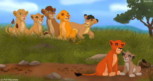 Taka, his friend and other cubs by M-WingedLioness