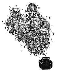 bottle of owl ink by koyamori