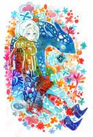 blue deer by koyamori