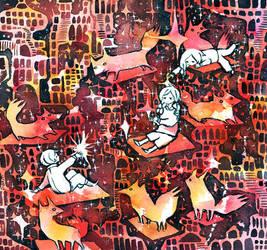 space foxes by koyamori