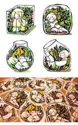terrarium stickers by koyamori