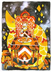 gold eater and armadillo by koyamori