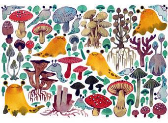 Mushrooms + Slugs by koyamori