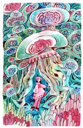 Sea uribo and jellyfish by koyamori