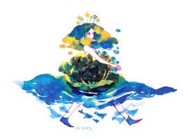 A walking island by koyamori