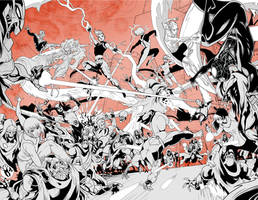 X-Men fight by LucianoVecchio