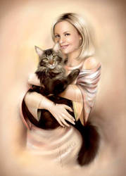 Woman with a cat by layanna