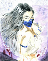 Kitana Mortal Kombat Watercolor Painting by Chuck-K