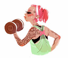 Workout lady by Beastysakura