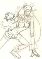 Lineart - Cat Katarina by BlackenedTitan