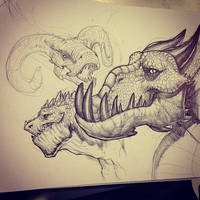 Dragon Faces Sketch by SketchMonster1