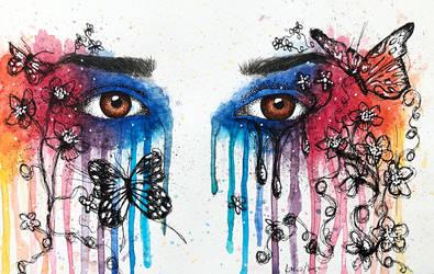 Watercolor Eyes Painting by ninangame