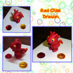 Red Chibi Dragon by silver-of-the-star