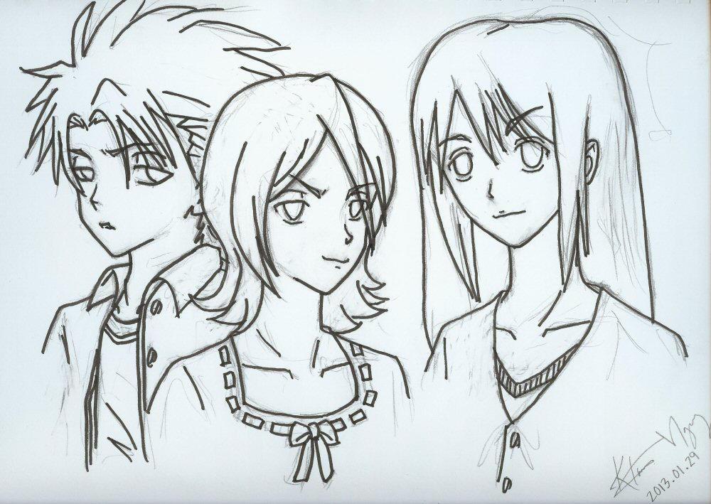 Rukia with Toushirou and Momo by kurosu
