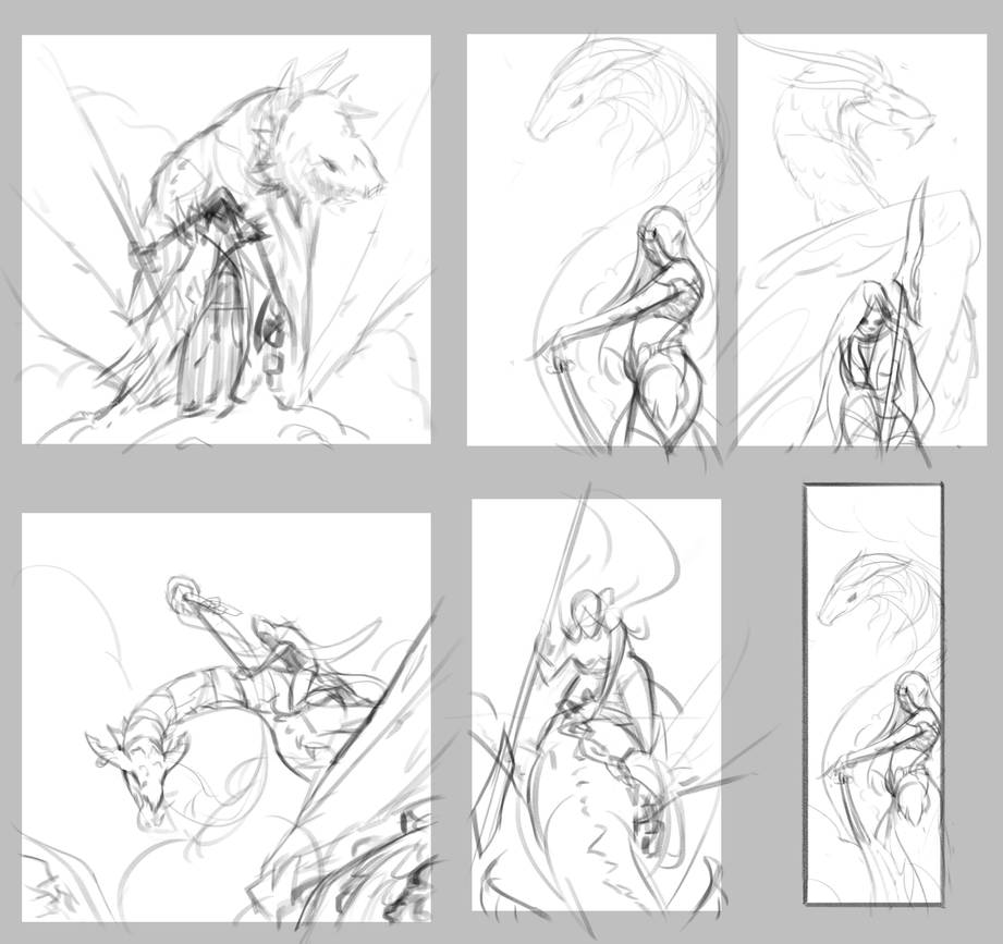 Dragon-Tamer-Initial-Sketches by drbjrart