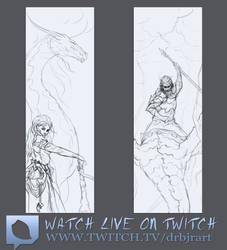 Dragon Tamer - Bookmark Design - Twitch Sketches by drbjrart